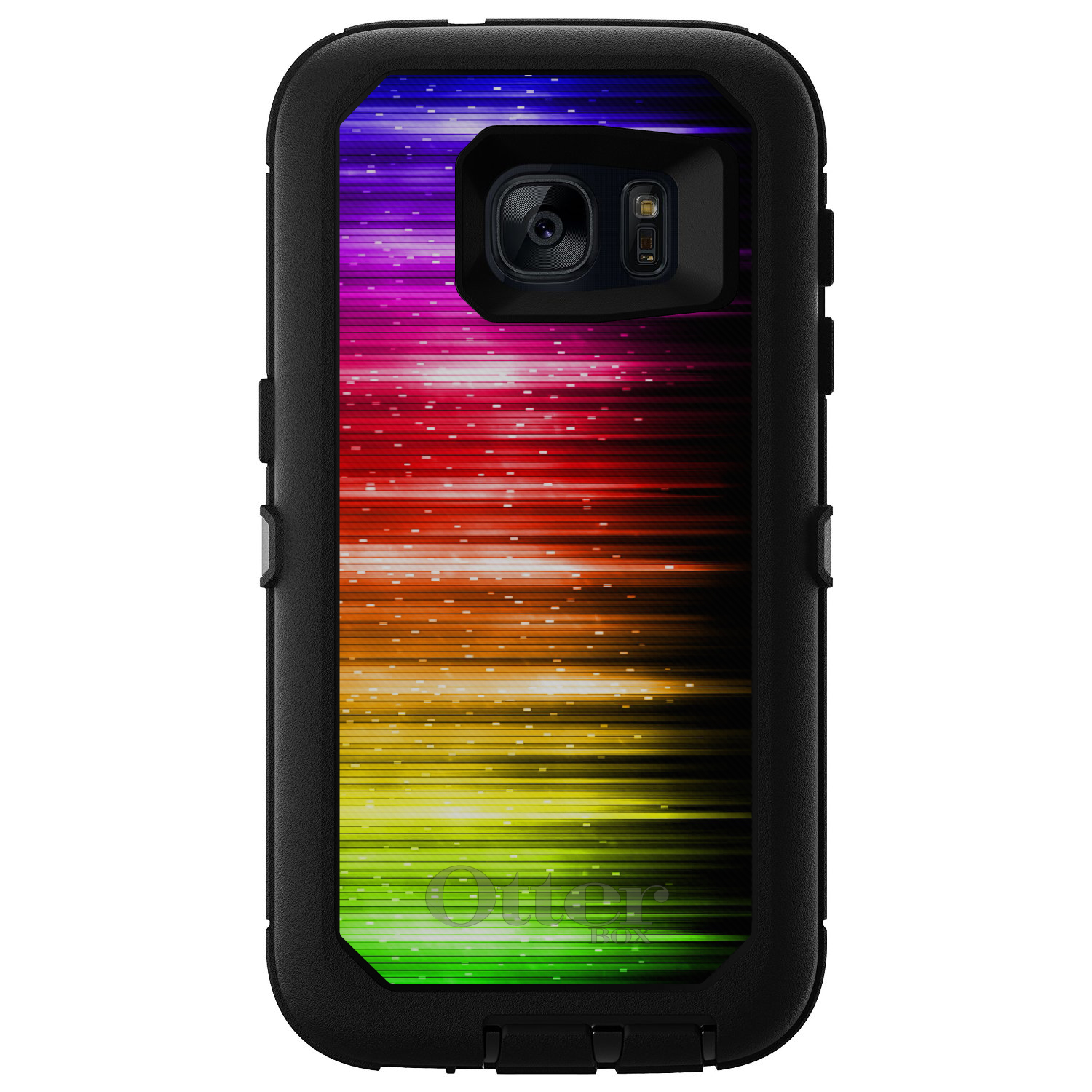 DistinctInk™ Custom Black OtterBox Defender Series Case for Samsung Galaxy S7 - Rainbow Light Glowing Lines
