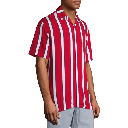 No Boundaries Men's Short Sleeve Striped Resort Shirt