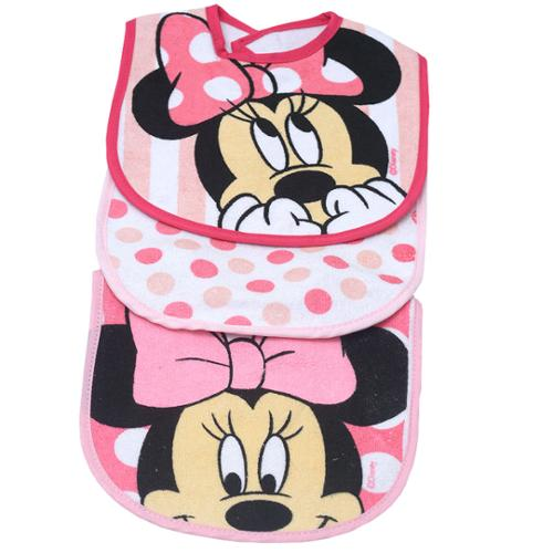 Little Beginnings Baby Girls Pink Minnie Mouse Dotted Print 3 Pc Bib Set