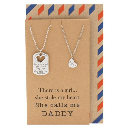 Quan Jewelry Father and Daughter Necklace, Father's Day Gift, Thanksgiving and Christmas Inspirational Gifts from Daughters - Christmas Jewelry Ideas