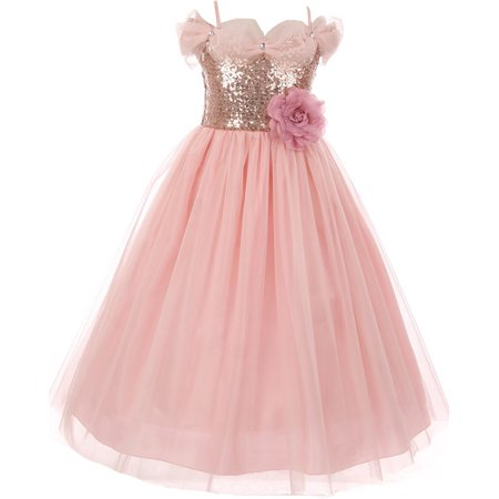 Little Girls Dress Sequin Glitter Off Shoulder Tulle Holiday Party Flower Girl Dress Blush Size 2 (K64K17) - Girls Party Dresses