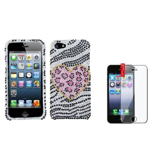 Insten Playful Leopard Diamond Case Bling Hard Cover For iPhone 5 5s+LCD Shield