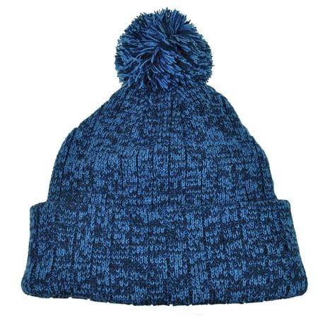 Heather Blue Blank Solid Plain Cuffed Knit Beanie Toque Pom Pom Winter Hat  Skull - Walmart.com c55dc279f43