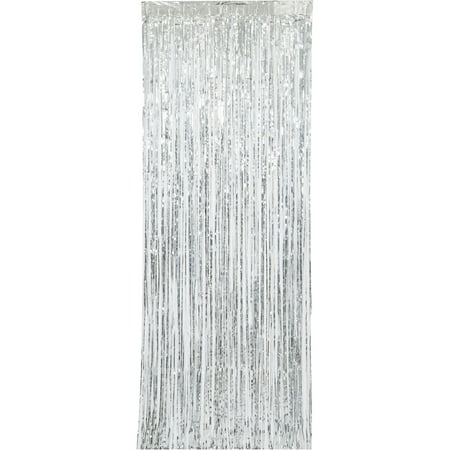 (2 pack) Silver Foil Fringe Curtain, 3ft x (Silver Beaded Fringe)