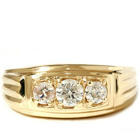 mens 34ct three stone diamond wedding anniversary ring
