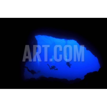 Into Darkness: Underwater Cave Scuba Diving Silhouettes Print Wall Art By Rich Carey