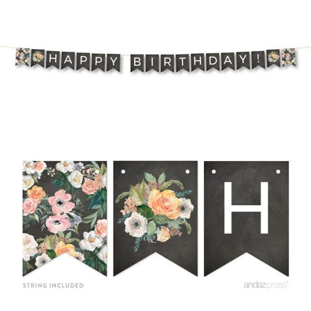 Peach Chalkboard Floral Party, Happy Birthday! 5-Feet Hanging Pennant Party Banner with String](Happy Birthday Chalkboard Sign)