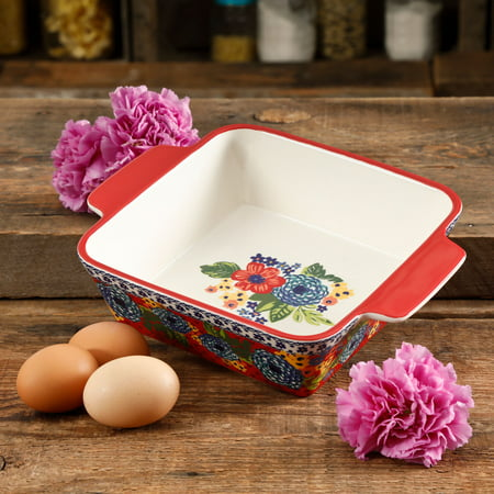 (The Pioneer Woman Dazzling Dahlias 8-Inch Square Baker)