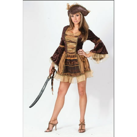 Sally Charlie Brown Halloween Costume (Brown and Gold Pirate Sassy Victorian Women Adult Halloween Costume -)