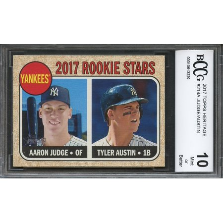 2017 topps heritage #214a AARON JUDGE new york yankees rookie card BGS BCCG 10