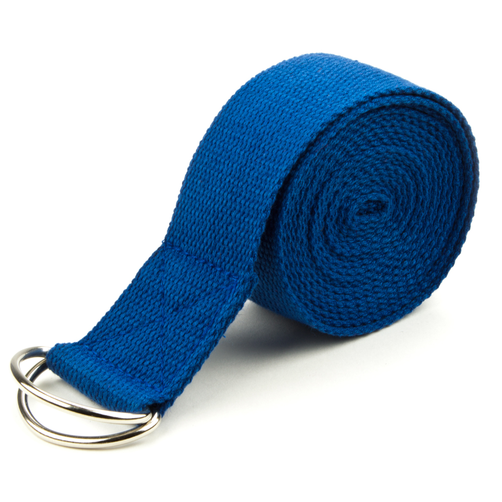 Blue 8' Cotton Yoga Strap with Metal D-Ring by Pro Extensions