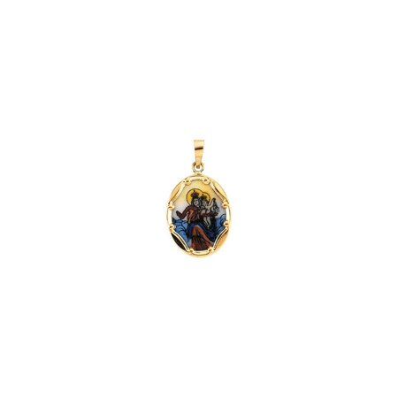 Bella Grace Jewelry Collection 14K Yellow 17x13.5mm Porcelain Scapular Pendant
