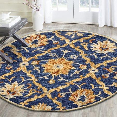LR Home Dazzle Floral Trellis Jacobean Diamond Navy Blue Indoor Round Rug ( 6 ft x 6 ft )