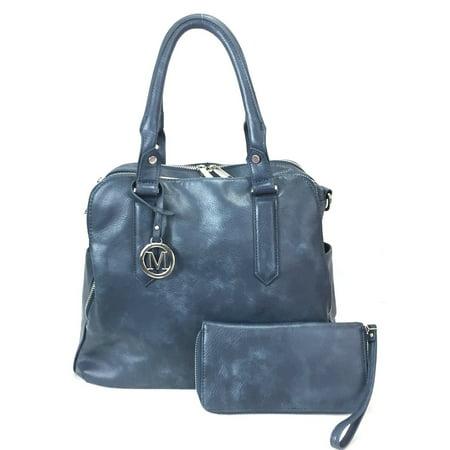 Zzfab Leatherette Triple Compartments Satchel Purse and Wallet Set (Triple Compartment Shoulder Bag)