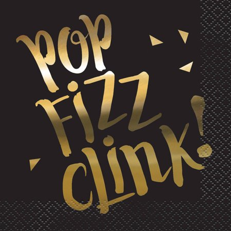 Foil Chic Black & Gold Pop, Fizz, Clink Cocktail Napkins, 16ct - Black And Gold Napkins