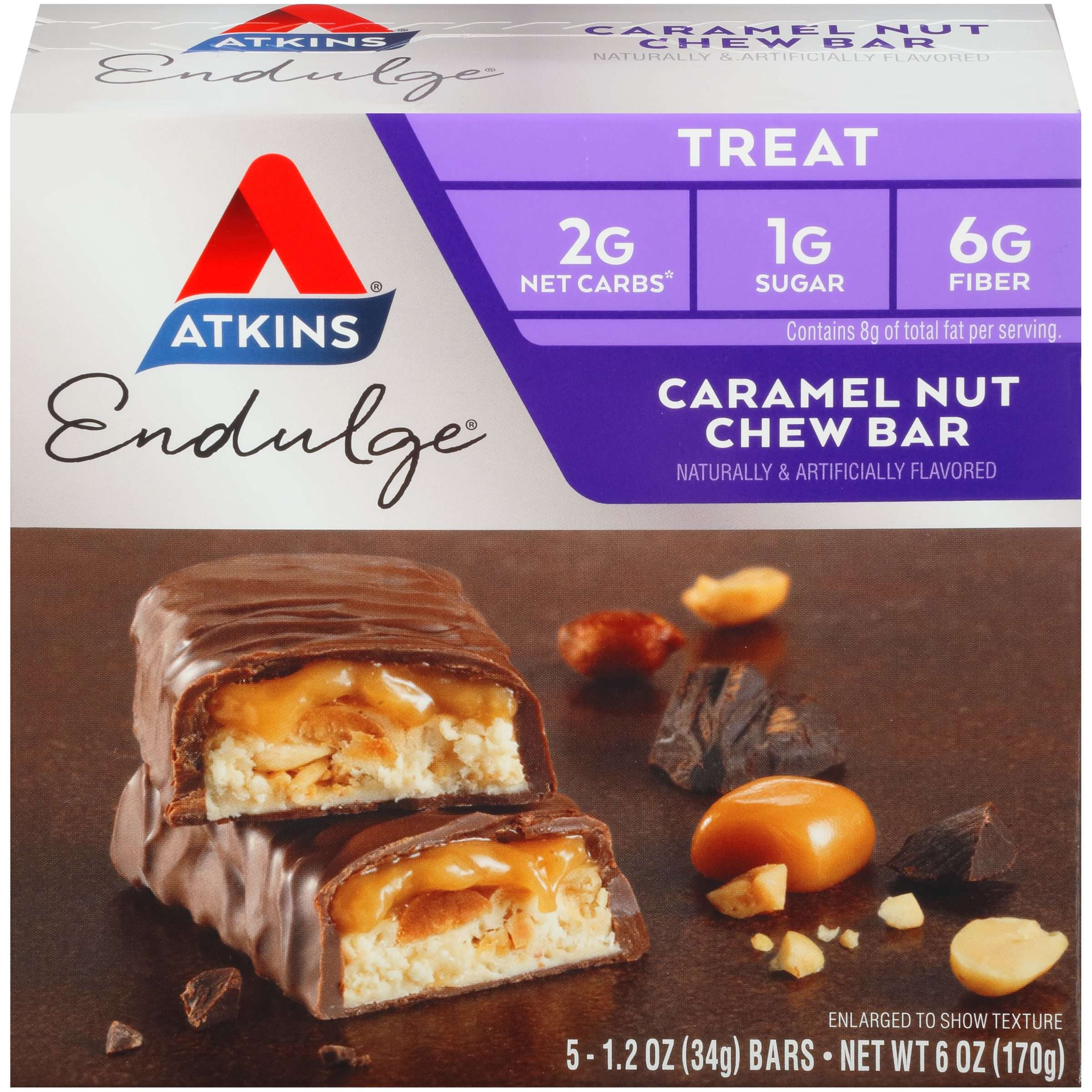 Atkins Endulge Caramel Nut Chew Bar, 1.2oz, 5-pack (Treat)