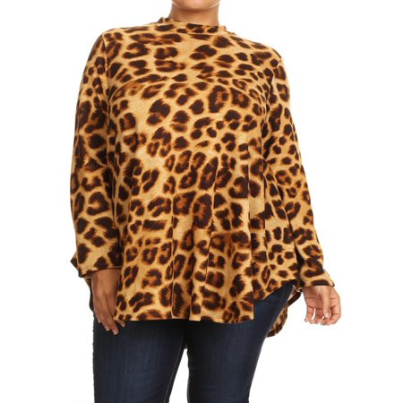 MOA COLLECTION Women's Plus Size Leopard Pattern Print Loose Fit Long Sleeve Casual Knit Tunic Top