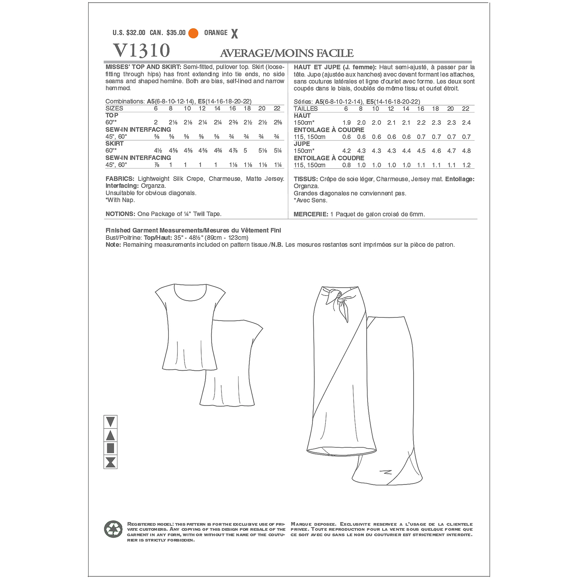 Vogue Pattern Misses' Top and Skirt, A5 (6, 8, 10, 12, 14)