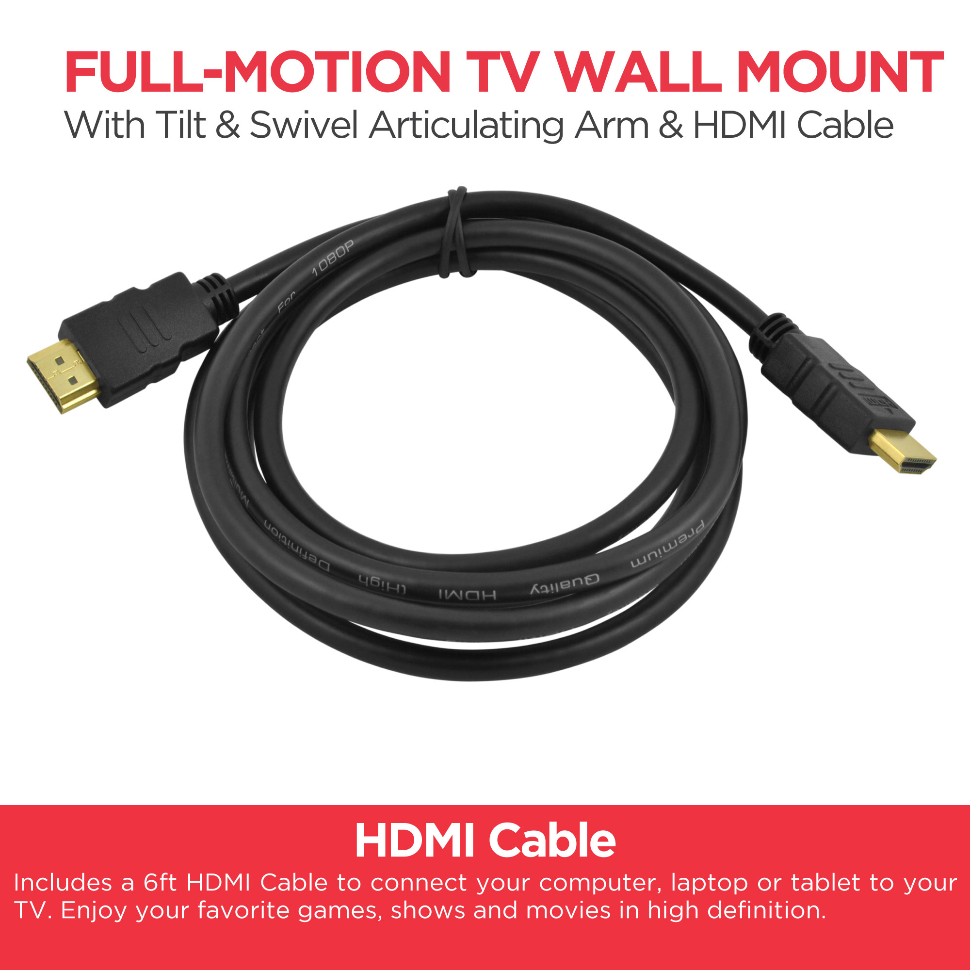 Ematic 10 49 Full Motion Articulating Tv Wall Mount With Hdmi Wiring Accessories Cable