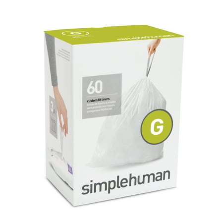 simplehuman 3 x 20pk (60 liners), code G custom fit liners - 30 l / 8