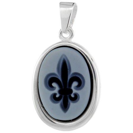 (Sterling Silver Natural Blue Agate Cameo Fleur de Lis Pendant 14x10mm)