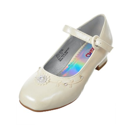 Josmo Girls' Mini Pumps (Sizes 5 - 7) - White Toms For Girls