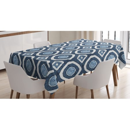 Asian Tablecloth, Shibori Dyeing Style Ikat with Eastern Design Circles Diamond Shapes, Rectangular Table Cover for Dining Room Kitchen, 60 X 84 Inches, Night Blue and Pale Blue, by Ambesonne - Amscan Tablecloths