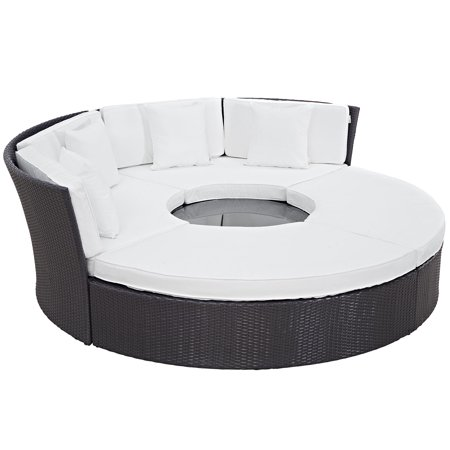 Super Modern Contemporary Urban Design Outdoor Patio Balcony Round Daybed Sofa Set White Rattan Ncnpc Chair Design For Home Ncnpcorg
