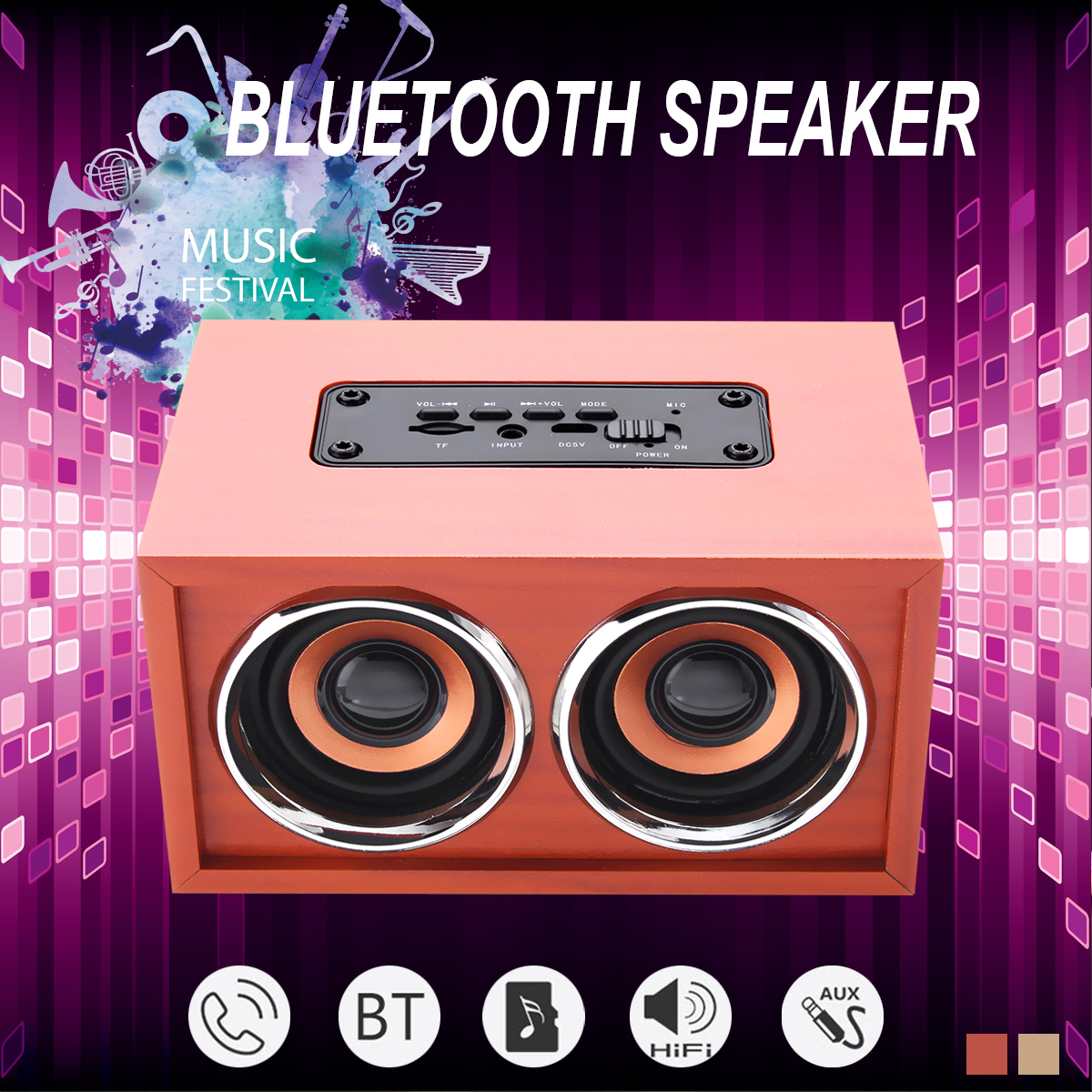 Grtsunsea Multi Style Wireless Wooden Speaker Radio Bass Music Speaker Can Use as Bible Aduio Player Indoor Outdoor Christmas Dancing Party Xmas Gife