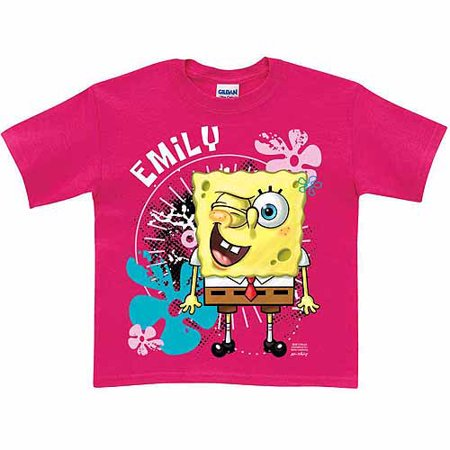 Personalized SpongeBob SquarePants Wink Girls' Hot Pink T-Shirt - Pink Bob