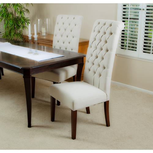 Tall Litt Tufted Roll Back Dining Chairs, Natural