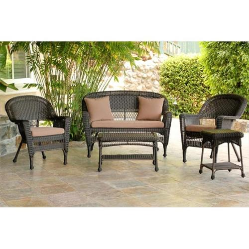 Jeco W00201-G-OT-FS007 5 Piece Espresso Wicker Conversation Set - Brown Cushions