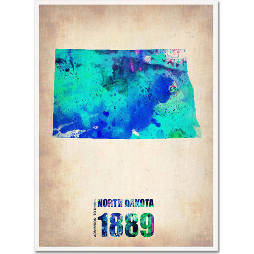 "Trademark Fine Art ""North Dakota Watercolor Map"" Canvas Art by Naxart"