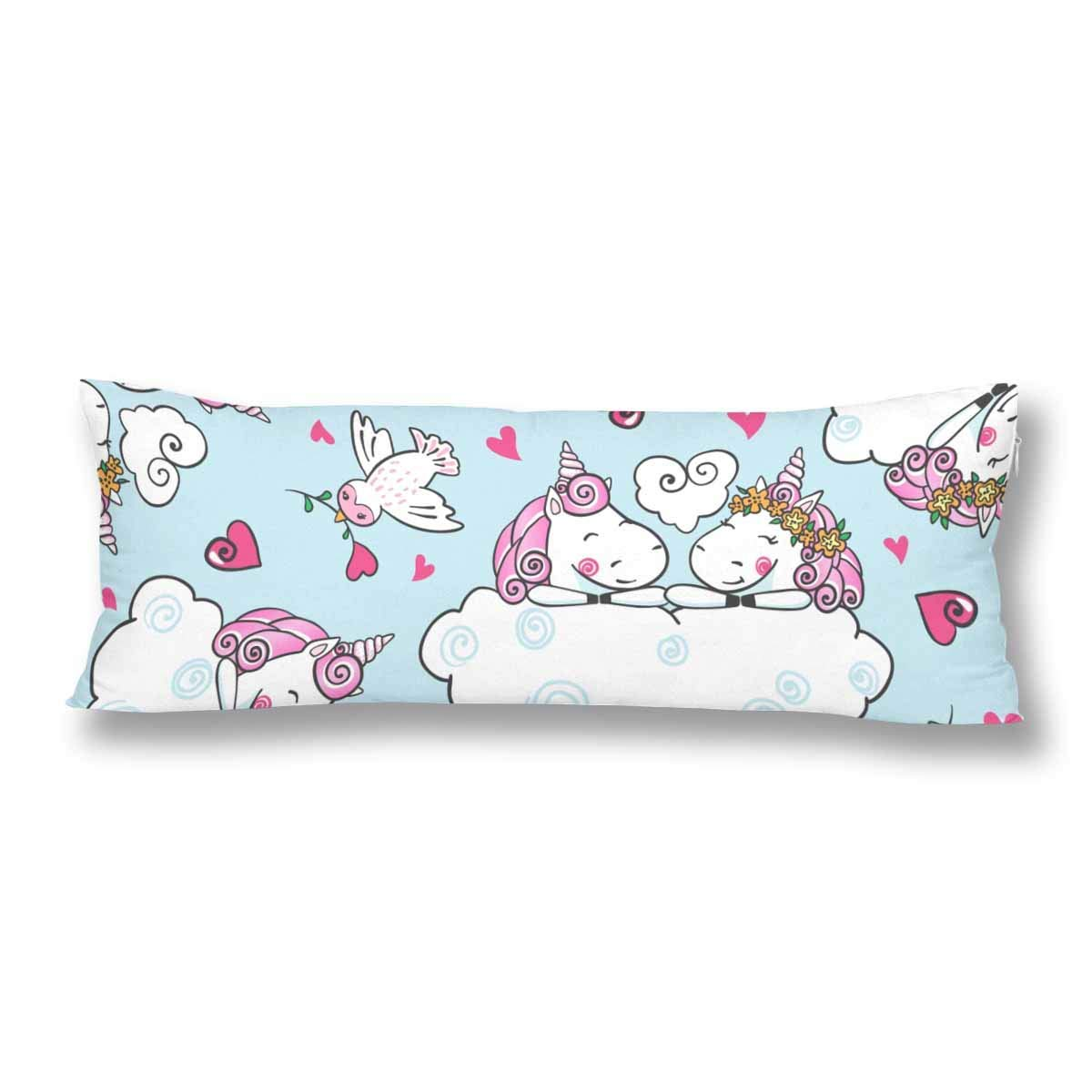 GCKG Cute Unicorn Falling in Love Heart Cartoon Style Pillow Covers Pillowcase 20x60 inches, Body Pillow Case Protector - image 2 de 2