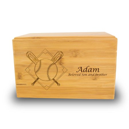 Bamboo Box Cremation Urn - Large 200 Pounds -  Brown Baseball - Custom Engraving Included