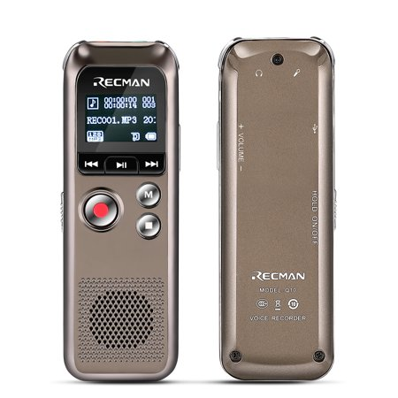 Digital Voice Recorder with Playback, Rechargeable Voice Activated Dictaphone, Noise-Reduction Stereo Mic 8GB, Includes Call Recording Adapter, Headphone - MP3 / WAV / FM Radio Player for Lectures