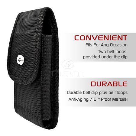 3 PACK - For Verizon Kyocera DuraXV / DuraXV Plus / DuraXA Vertical Rugged Canvas Case Cover Holster with Fixed Belt Clip and Belt Loop * Fits Bare Phone Only * - image 5 of 9