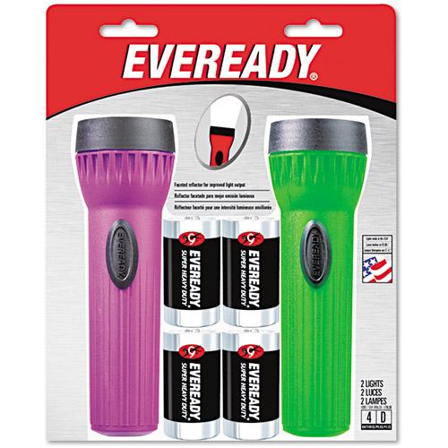 Energizer Economy Bright Light Flashlight, Assorted Colors, 2 pk
