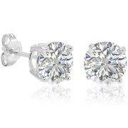 Sterling Silver Round Cut Cubic Zirconia Stud Earrings (7mm 4ct tw)
