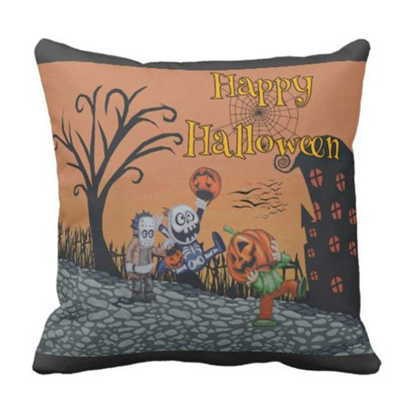 ARTJIA Interior Happy Halloween Trick Treat Holiday Pillowcase Cover 18x18 inch - Happy Halloween Trick Or Treating