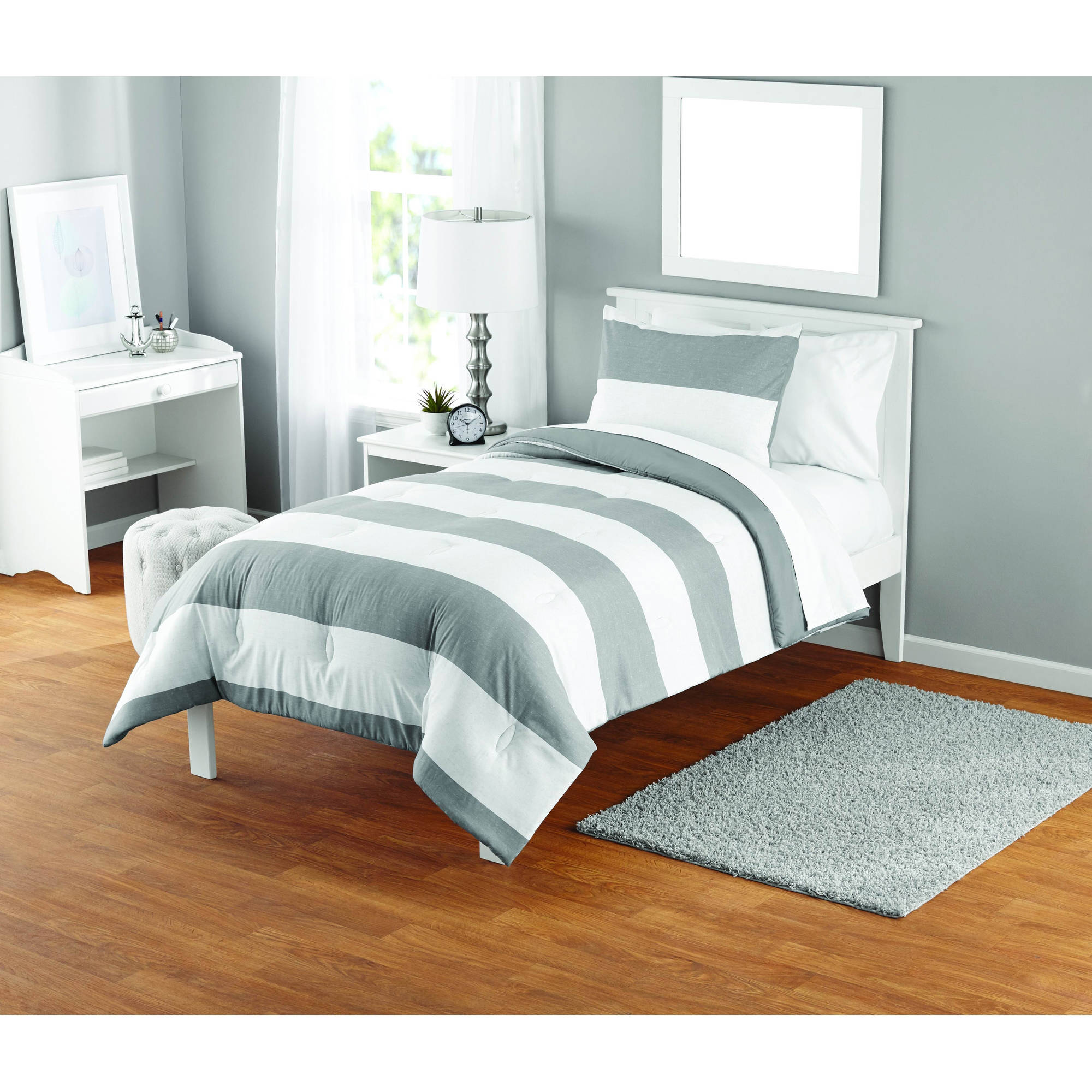 your zone grey stripe comforter set