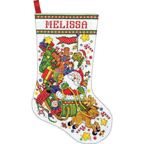 "Santa and Sleigh Stocking Counted Cross Stitch Kit, 17"" Long, 14-Count"