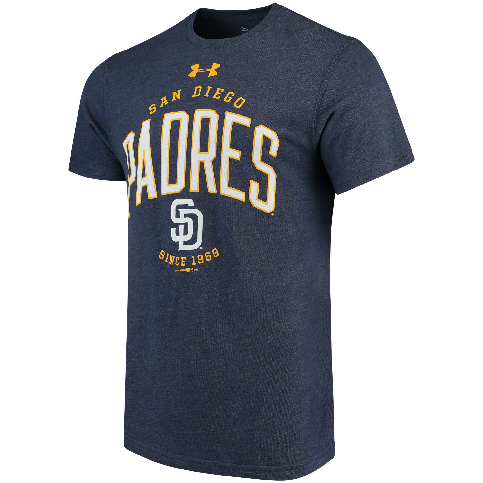 Men's Under Armour Navy San Diego Padres Team Logo Tri-Blend T-Shirt