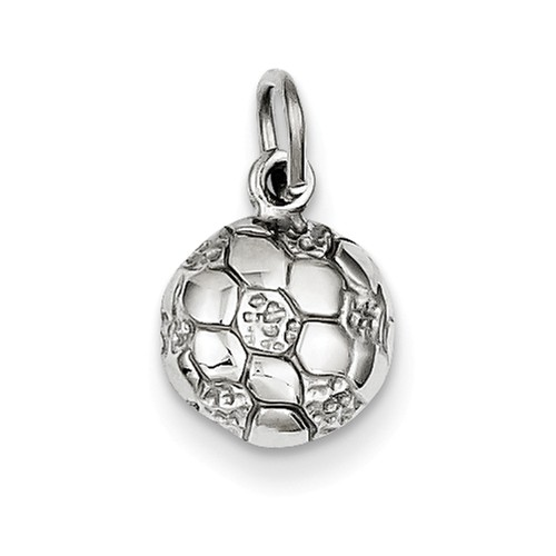 14k White Gold Soccer Ball Pendant