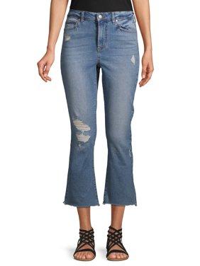 No Boundaries Juniors' Crop Kick Flare Jeans