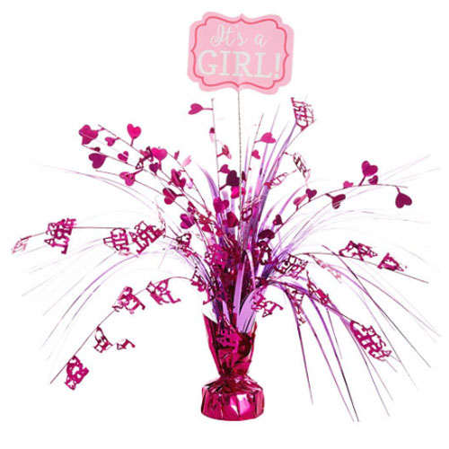 Baby Shower 'Baby Girl' Deluxe Weighted Cascade Centerpiece (1ct)