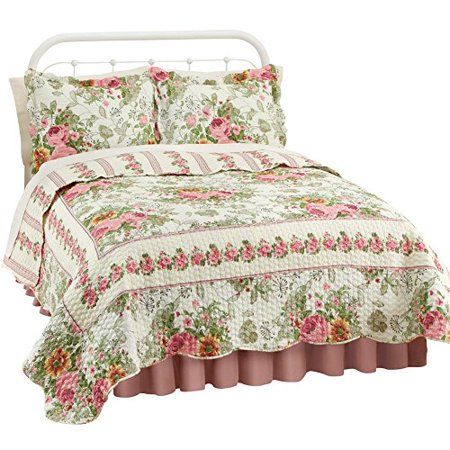 Collections Etc Reversible Floral Bella Rose Quilt  King  Rose