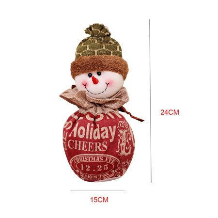 Christmas Candy Bag Cartoon Snowman Santa Claus Xmas Fruit Pouch Home Party Decoration Gift Holder - image 6 of 9
