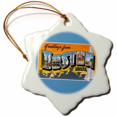 3dRose Greetings from Boston Mass. Scenic Postcard Reproduction - Snowflake Ornament, 3-inch ()