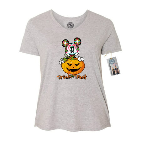 womens plus size v neck shirt top trick or treat halloween mickey - Mickey Halloween